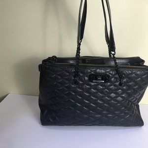 Rebecca Minkoff Quilted Leather Large Satchel Tote Chain Straps Zip Lock Black